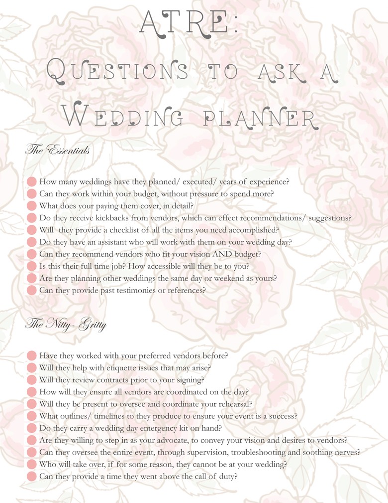 KME certified questions- wedding planner